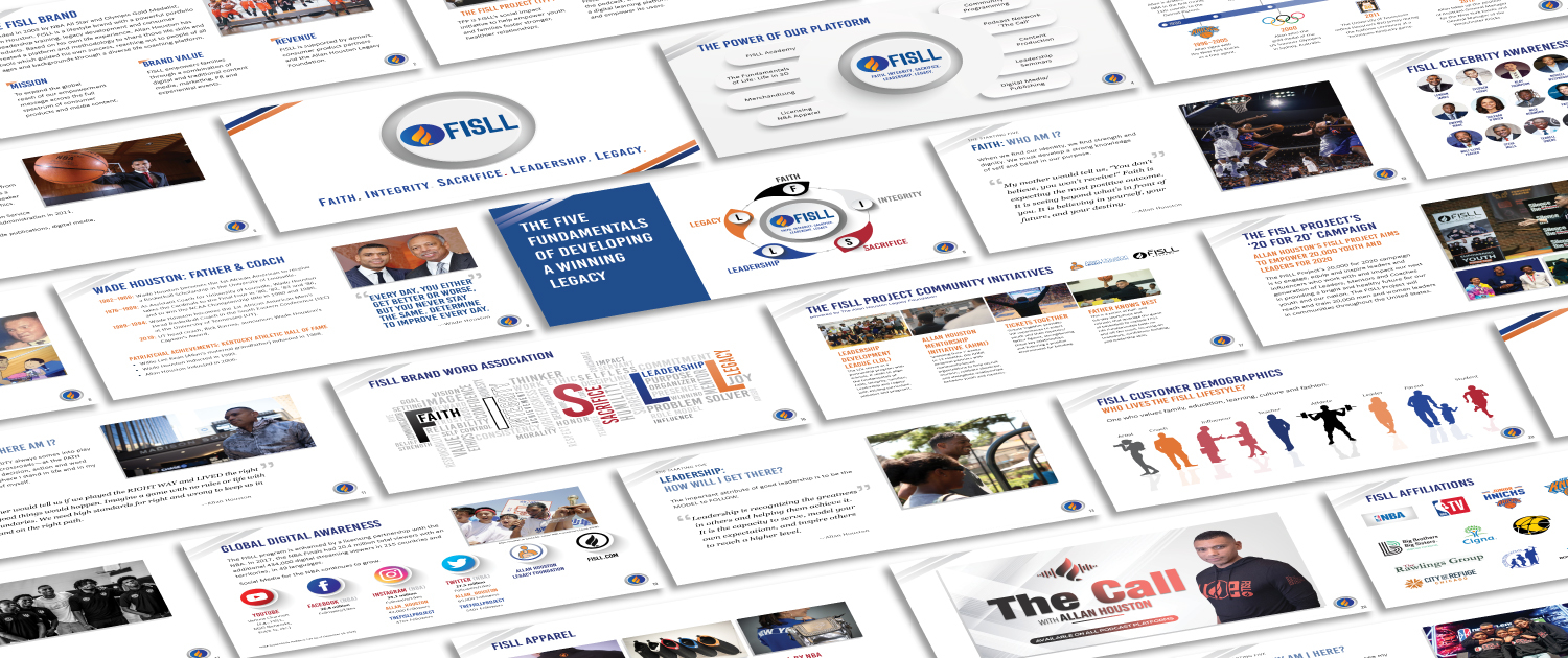 FISLL Brand Marketing Deck pages laid out on the screen designed by Andrew S. Kim